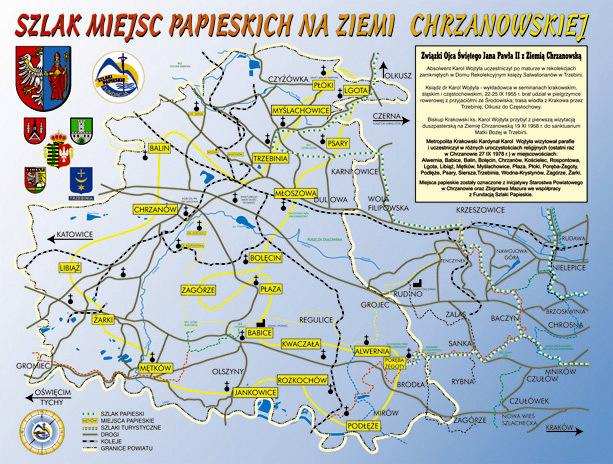 mapa szlaku papieskiego